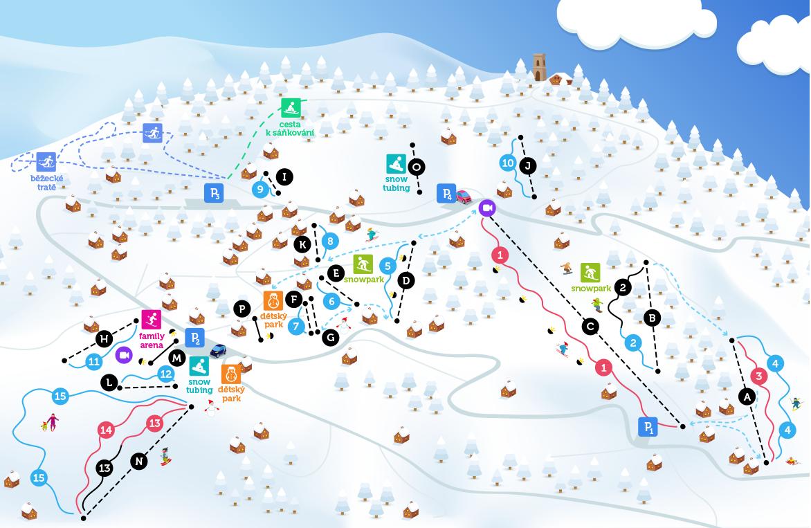 Zimní mapa Benecka